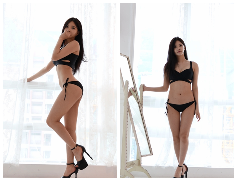 韩国水嫩小妹黑色比基尼泳装性感写真 [1V] -第1张